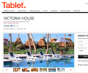 Tablet Hotels website